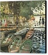 Bathers At La Crenovillere Canvas Print by Claude Monet