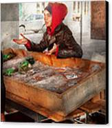 Bazaar - I Sell Fish  Canvas Print by Mike Savad