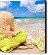 Beach Bag With Sun Hat Canvas Print by Amanda And Christopher Elwell
