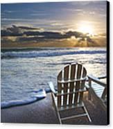 Beach Chairs Canvas Print by Debra and Dave Vanderlaan