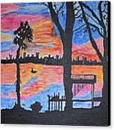 Beach Silhouette Canvas Print by Sonali Gangane