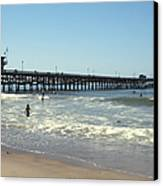 Beach View With Pier 2 Canvas Print by Ben and Raisa Gertsberg