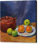 Bean Pot And Fruit Canvas Print by Susie Jernigan