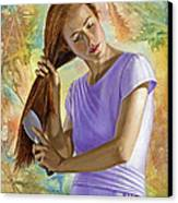Becca Brushing Her Hair Canvas Print by Paul Krapf