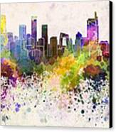 Beijing Skyline In Watercolor Background Canvas Print by Pablo Romero