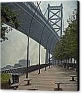 Ben Franklin Bridge And Pier Canvas Print by Tom Gari Gallery-Three-Photography