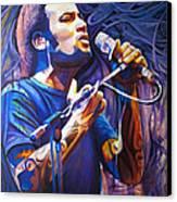 Ben Harper And Mic Canvas Print by Joshua Morton