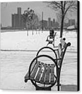 Bench At Belle Isle With Detroit I Canvas Print by John McGraw
