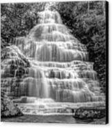 Benton Falls In Black And White Canvas Print by Debra and Dave Vanderlaan
