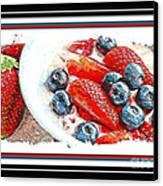 Berries And Yogurt Illustration - Food - Kitchen Canvas Print by Barbara Griffin