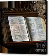 Bible Open On A Lectern Canvas Print by Louise Heusinkveld