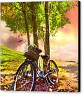 Bicycle Under The Tree Canvas Print by Debra and Dave Vanderlaan