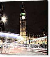 Big Ben With Light Trails Canvas Print by Jasna Buncic