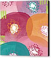 Big Garden Blooms- Abstract Florwer Art Canvas Print by Linda Woods