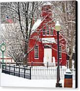 Billie Creek Village Winter Scene Canvas Print by Virginia Folkman