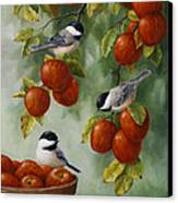 Bird Painting - Apple Harvest Chickadees Canvas Print by Crista Forest