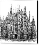 Black And White With Pen And Ink Drawing Of Milan Cathedral  Canvas Print by Mario Perez
