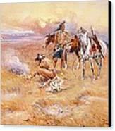Black Feet Burning The Buffalo Range Canvas Print by Charles Russell