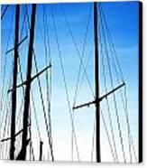 Black N Blue Hour Of Sailing Ships Canvas Print by Rosemarie E Seppala