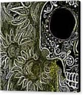 Black Sunflower Skull Canvas Print by Lovejoy Creations