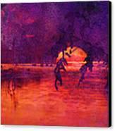 Bleeding Sunrise Abstract Canvas Print by J Larry Walker