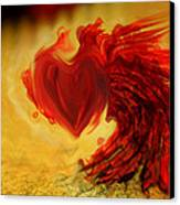 Blood Red Heart Canvas Print by Linda Sannuti
