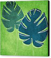 Blue And Green Palm Leaves Canvas Print by Linda Woods
