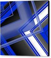Blue And White Geometric Art Canvas Print by Mario Perez