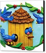 Blue Birds Fly Home Canvas Print by Amy Vangsgard