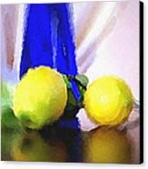 Blue Bottle And Lemons Canvas Print by Ben and Raisa Gertsberg