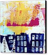 Blue Buildings Canvas Print by Linda Woods
