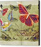Blue Butterfly - Orange On Green - S02a Canvas Print by Variance Collections