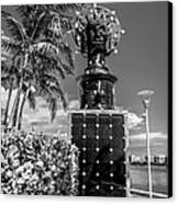 Blue Crown Statue Miami Downtown - Black And White Canvas Print by Ian Monk