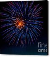 Blue Firework Flower Canvas Print by Robert Bales