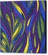 Blue Green Purple Abstract Silk Design Canvas Print by Sharon Freeman