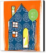 Blue House Get Well Card Canvas Print by Linda Woods