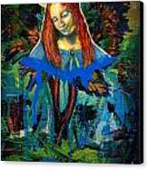 Blue Madonna In Tree Canvas Print by Genevieve Esson