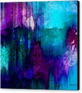 Blue Rain  Abstract Art   Canvas Print by Ann Powell