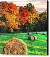 Blue Ridge - Fall Colors Autumn Colorful Trees And Hay Bales II Canvas Print by Dan Carmichael