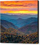 Blue Ridge Parkway Fall Sunset Landscape - Autumn Glory Canvas Print by Dave Allen