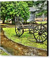 Blue Ridge Parkway Vintage Wagon In The Rain I Canvas Print by Dan Carmichael