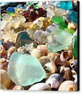 Blue Seaglass Beach Art Prints Shells Agates Canvas Print by Baslee Troutman