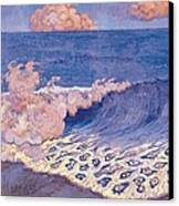 Blue Seascape Wave Effect Canvas Print by Georges Lacombe