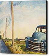 Blue Truck North Fork Canvas Print by Susan Herbst
