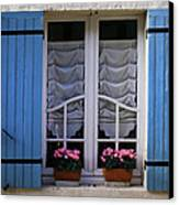 Blue Window Shutters Canvas Print by Georgia Fowler
