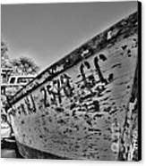 Boat - State Of Decay In Black And White Canvas Print by Paul Ward