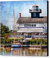 Boat - Tuckerton Seaport - Tuckerton Lighthouse Canvas Print by Mike Savad