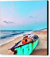 Boat Under Morning Moon Outer Banks I Canvas Print by Dan Carmichael