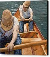 Boaters Rowing On The Yerres Canvas Print by Gustave Caillebotte