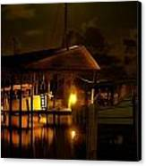 Boathouse Night Glow Canvas Print by Michael Thomas